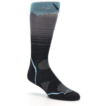 Image of Grey Blue Bird Wool Men's PhD Outdoor Socks (side-1-27)