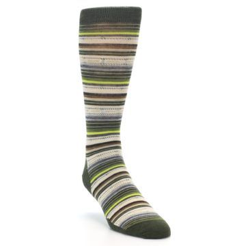 Image of Green Tan Stripe Wool Men's Casual Socks (side-1-front-02)