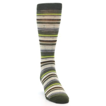 Image of Green Tan Stripe Wool Men's Casual Socks (side-1-front-03)