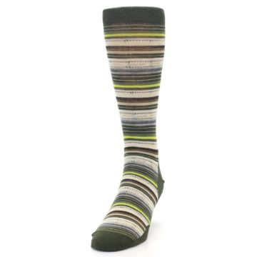 Image of Green Tan Stripe Wool Men's Casual Socks (side-2-front-06)