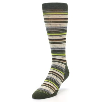 Image of Green Tan Stripe Wool Men's Casual Socks (side-2-front-07)