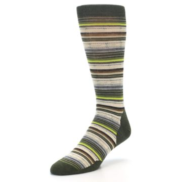 Image of Green Tan Stripe Wool Men's Casual Socks (side-2-front-08)