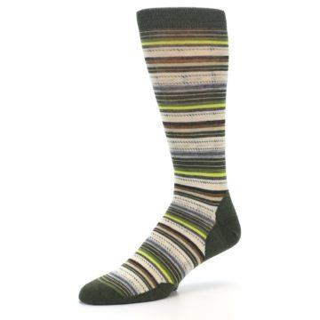 Image of Green Tan Stripe Wool Men's Casual Socks (side-2-09)