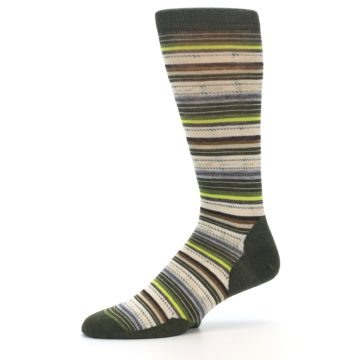 Image of Green Tan Stripe Wool Men's Casual Socks (side-2-10)
