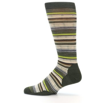 Image of Green Tan Stripe Wool Men's Casual Socks (side-2-12)
