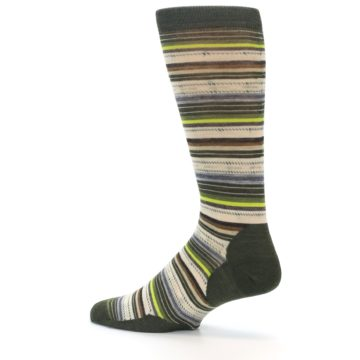 Image of Green Tan Stripe Wool Men's Casual Socks (side-2-13)