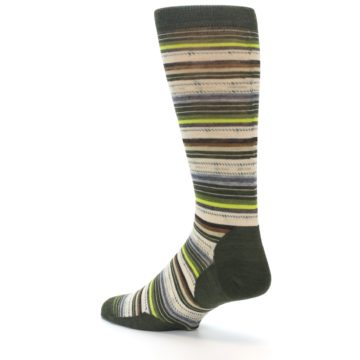 Image of Green Tan Stripe Wool Men's Casual Socks (side-2-back-14)