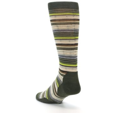 Image of Green Tan Stripe Wool Men's Casual Socks (side-2-back-15)