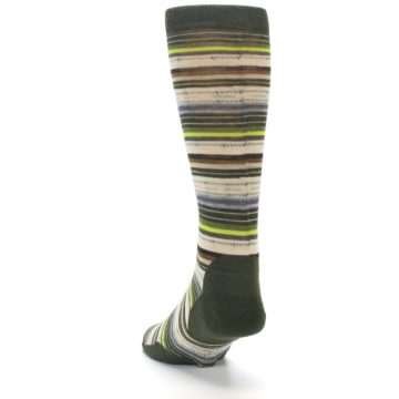 Image of Green Tan Stripe Wool Men's Casual Socks (side-2-back-16)