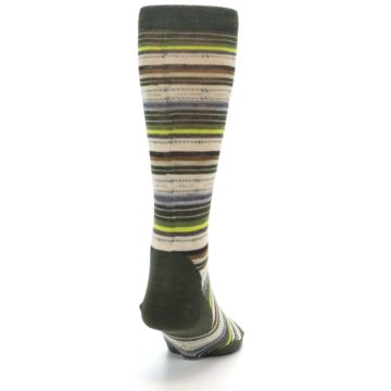 Image of Green Tan Stripe Wool Men's Casual Socks (back-19)
