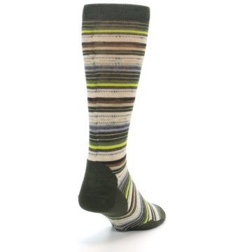 Image of Green Tan Stripe Wool Men's Casual Socks (side-1-back-20)