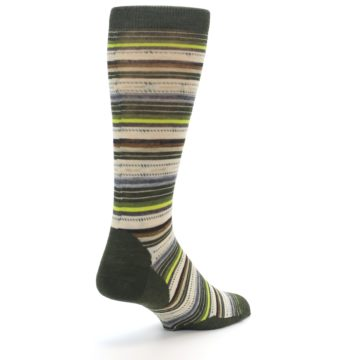 Image of Green Tan Stripe Wool Men's Casual Socks (side-1-back-21)