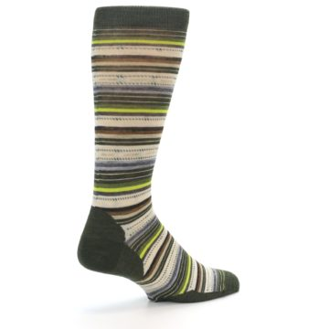 Image of Green Tan Stripe Wool Men's Casual Socks (side-1-back-22)