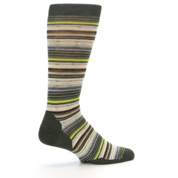 Image of Green Tan Stripe Wool Men's Casual Socks (side-1-23)