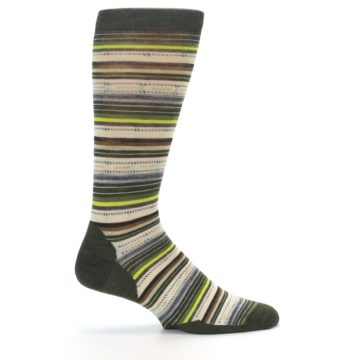 Image of Green Tan Stripe Wool Men's Casual Socks (side-1-24)