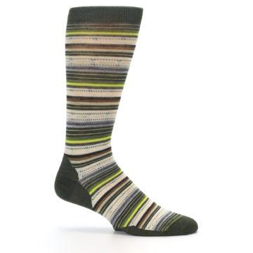Image of Green Tan Stripe Wool Men's Casual Socks (side-1-25)