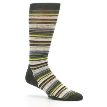 Image of Green Tan Stripe Wool Men's Casual Socks (side-1-26)