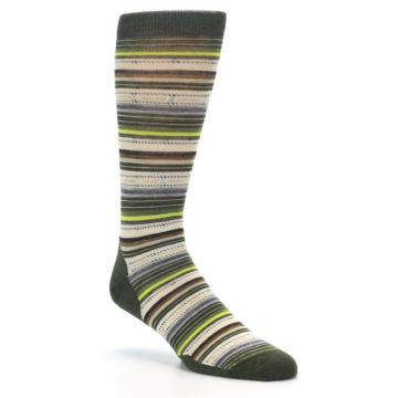 Image of Green Tan Stripe Wool Men's Casual Socks (side-1-27)
