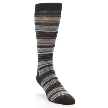 Image of Brown Grey Stripe Wool Men's Casual Socks (side-1-front-02)