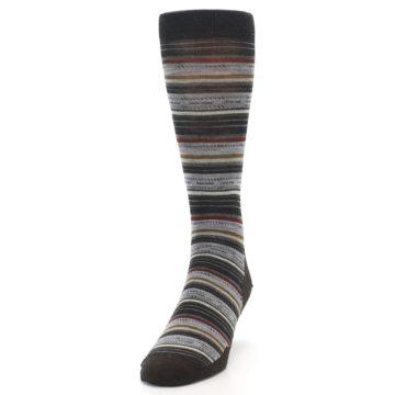 Image of Brown Grey Stripe Wool Men's Casual Socks (side-2-front-06)