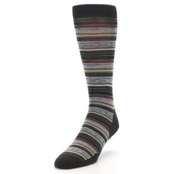 Image of Brown Grey Stripe Wool Men's Casual Socks (side-2-front-07)