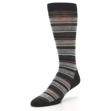 Image of Brown Grey Stripe Wool Men's Casual Socks (side-2-front-08)