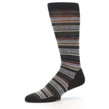 Image of Brown Grey Stripe Wool Men's Casual Socks (side-2-10)