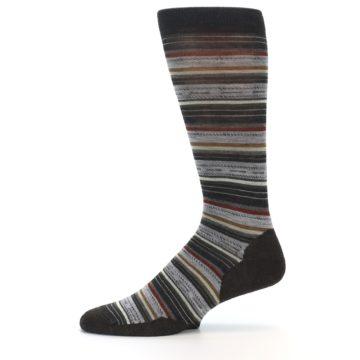 Image of Brown Grey Stripe Wool Men's Casual Socks (side-2-11)