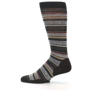 Image of Brown Grey Stripe Wool Men's Casual Socks (side-2-12)