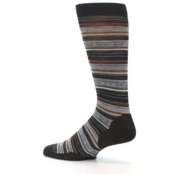 Image of Brown Grey Stripe Wool Men's Casual Socks (side-2-13)
