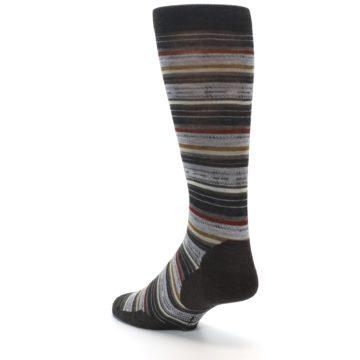 Image of Brown Grey Stripe Wool Men's Casual Socks (side-2-back-15)