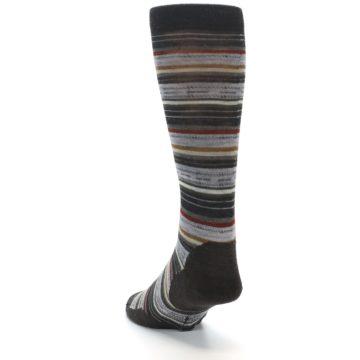 Image of Brown Grey Stripe Wool Men's Casual Socks (side-2-back-16)