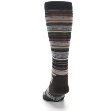 Image of Brown Grey Stripe Wool Men's Casual Socks (back-17)