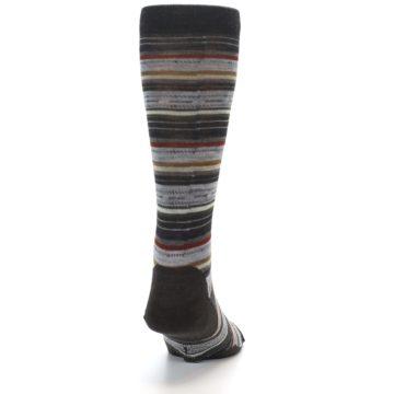 Image of Brown Grey Stripe Wool Men's Casual Socks (back-19)