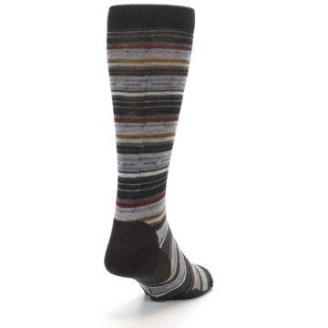 Image of Brown Grey Stripe Wool Men's Casual Socks (side-1-back-20)