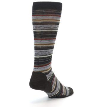 Image of Brown Grey Stripe Wool Men's Casual Socks (side-1-back-21)