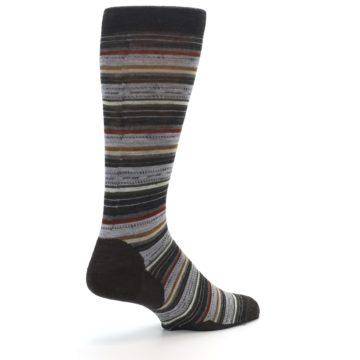Image of Brown Grey Stripe Wool Men's Casual Socks (side-1-back-22)