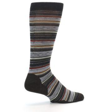 Image of Brown Grey Stripe Wool Men's Casual Socks (side-1-23)
