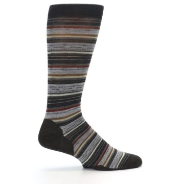 Image of Brown Grey Stripe Wool Men's Casual Socks (side-1-24)