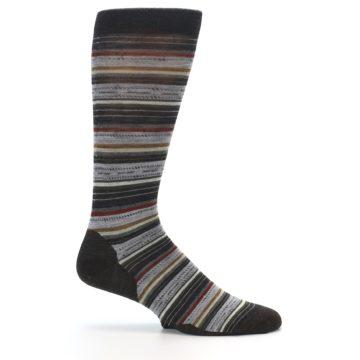 Image of Brown Grey Stripe Wool Men's Casual Socks (side-1-25)