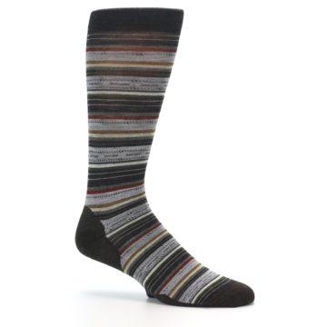 Image of Brown Grey Stripe Wool Men's Casual Socks (side-1-26)