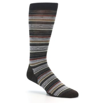 Image of Brown Grey Stripe Wool Men's Casual Socks (side-1-27)