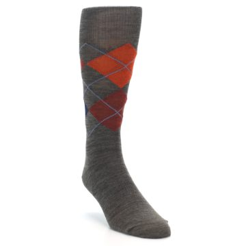 Image of Taupe Rust Argyle Wool Men's Casual Socks (side-1-front-02)