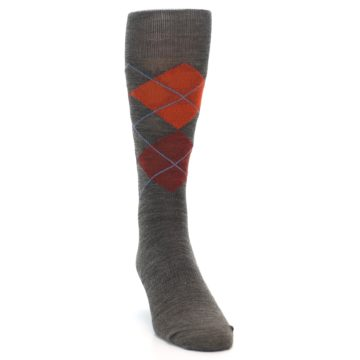 Image of Taupe Rust Argyle Wool Men's Casual Socks (side-1-front-03)