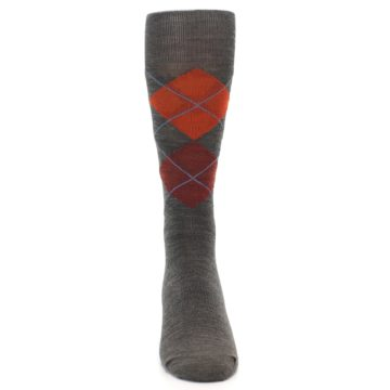 Image of Taupe Rust Argyle Wool Men's Casual Socks (front-04)
