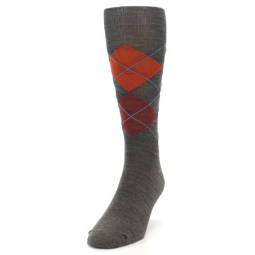 Image of Taupe Rust Argyle Wool Men's Casual Socks (side-2-front-06)