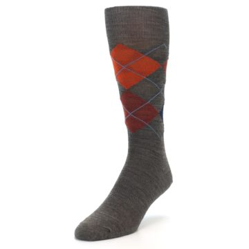 Image of Taupe Rust Argyle Wool Men's Casual Socks (side-2-front-07)