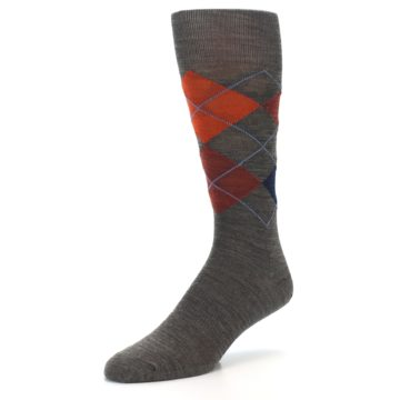 Image of Taupe Rust Argyle Wool Men's Casual Socks (side-2-front-08)