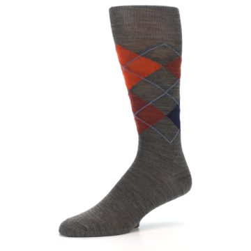 Image of Taupe Rust Argyle Wool Men's Casual Socks (side-2-09)