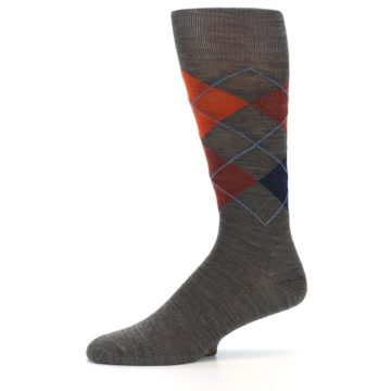 Image of Taupe Rust Argyle Wool Men's Casual Socks (side-2-10)